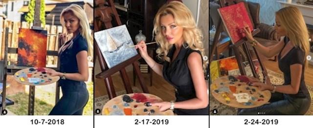 Ova influencerica se često fotka kako se bavi slikanjem, no nešto tu smrdi... Boje na paleti joj se godinama uopće nisu promijenile.