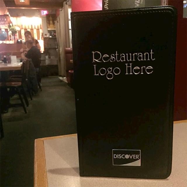"""Ovaj restoran je na koricama menija ostavio natpis """"Ovdje ide logo restorana"""""""