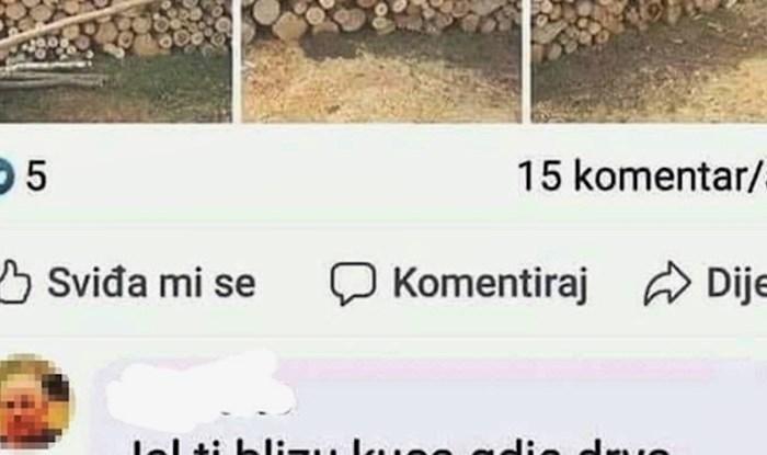 Netko je na Facebooku pokušao prodati drva, a onda se pojavio lik sa sumnjivim komentarom