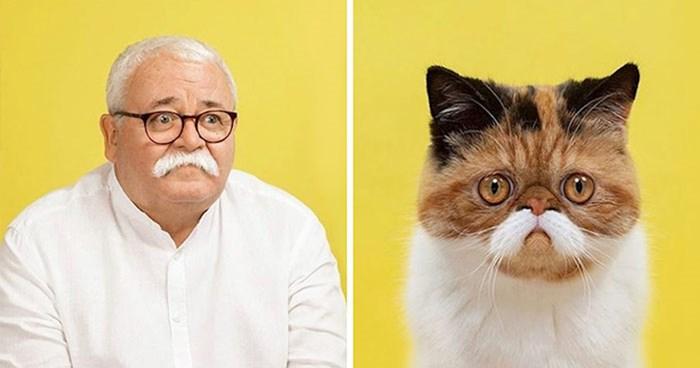 Fotograf slika mačke i ljude koji izgledaju kao da su dvojnici