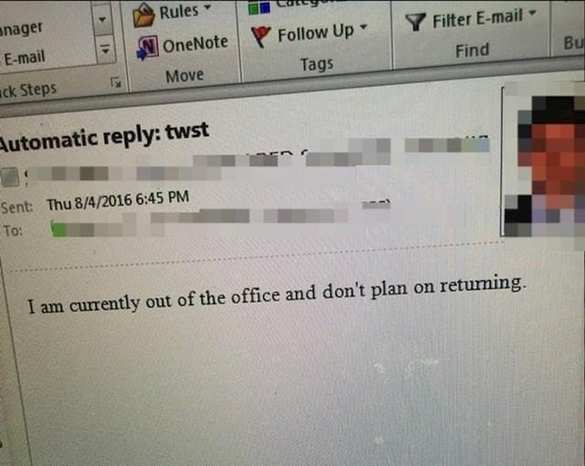 """Odgovor šefu: """"Trenutno nisam u uredu i ne planiram se vraćati."""""""