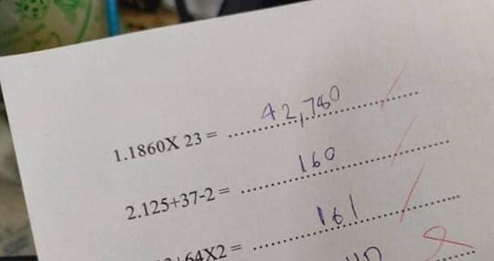Učenik je u zadacima napravio greške koje mnogi stariji ljudi neće ni razumjeti
