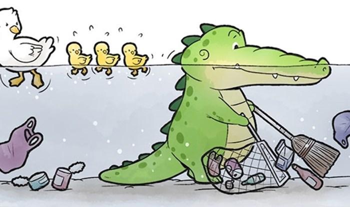 Stripovi koji pokazuju kako aligator pomaže drugima