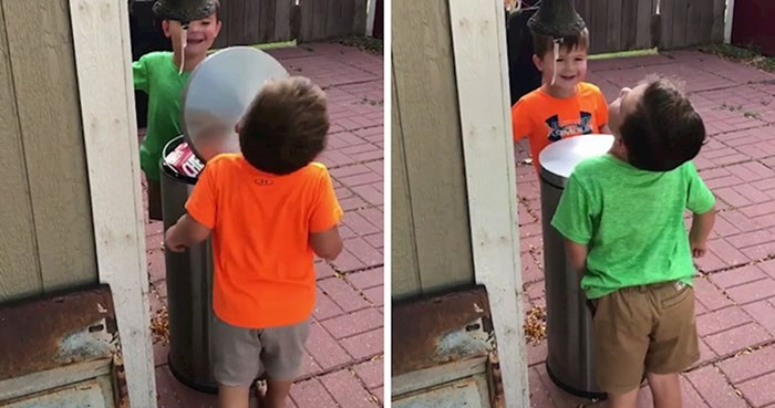 VIDEO Dječačići koji su se igrali s kantom za smeće postali su hit na internetu i nasmijali ljude svojim potezom