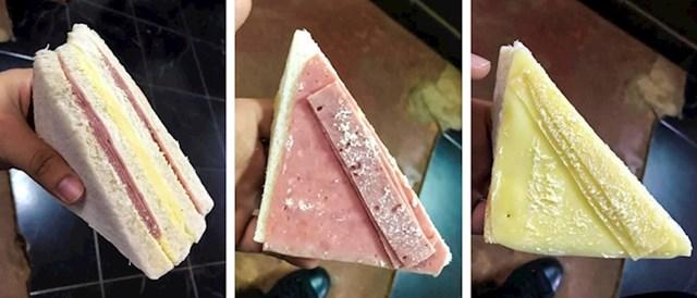 Ovaj sendvič izgleda kao da je pun salame i sira, no veći dio su stavili samo tamo gdje je prerezan.