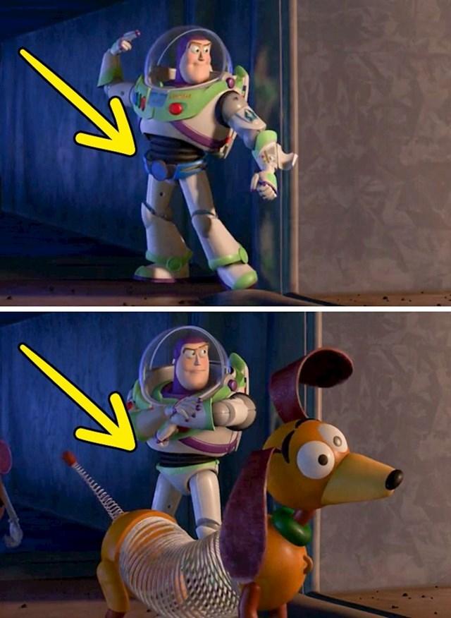 Priča o igračkama 2: Buzzovo svemirsko odijelo u sljedećoj sceni odjednom mijenja oblik.