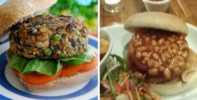 U svom burgeru je kao dodatak htio grah, misleći da će izgledati kao ovaj lijevo.