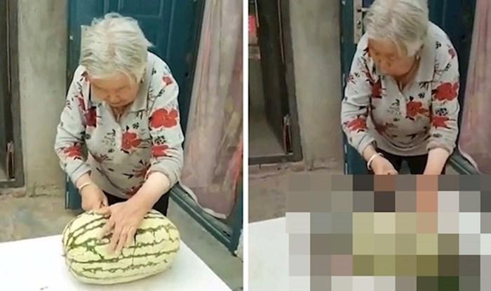 VIDEO Baka je htjela izrezati lubenicu, no dogodila joj se nezgoda kojom je nasmijala internet