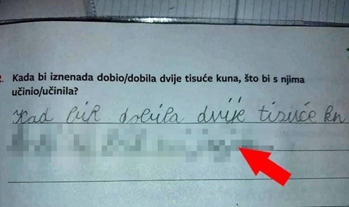 Dijete je trebalo napisati što bi učinilo s 2000 kuna, odgovor je nasmijao učiteljicu