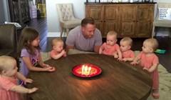 Tata je s bebama slavio rođendan, snimka je postala viralni hit zbog reakcije jedne od klinki