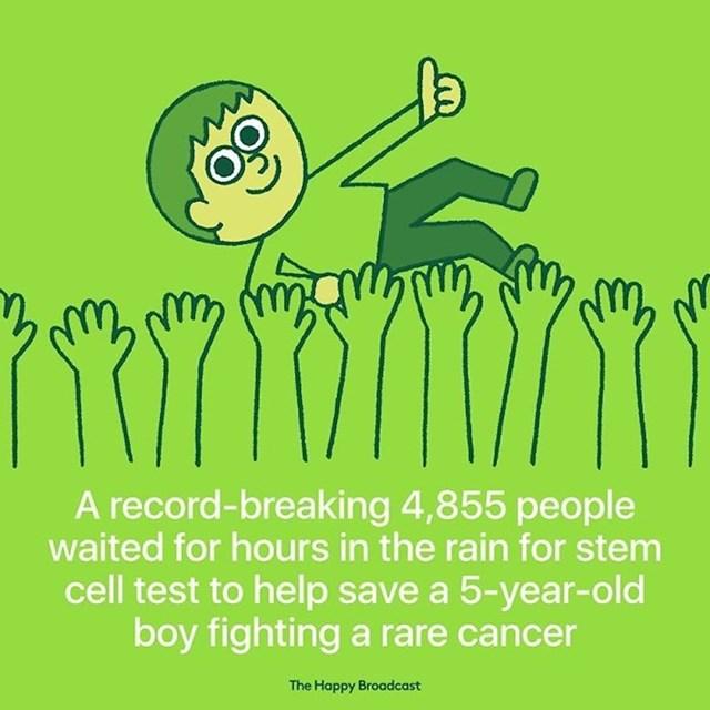 4855 ljudi čekalo je na kiši, kako bi se testirali za donaciju matičnih stanica i tako pomogli petogodišnjem dječaku u borbi sa rakom.