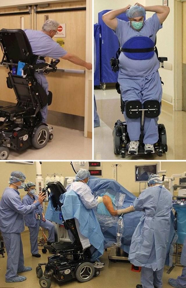 Doktor Ted Rummel može pomoću uspravnih invalidskih kolica i dalje operirati pacijente.