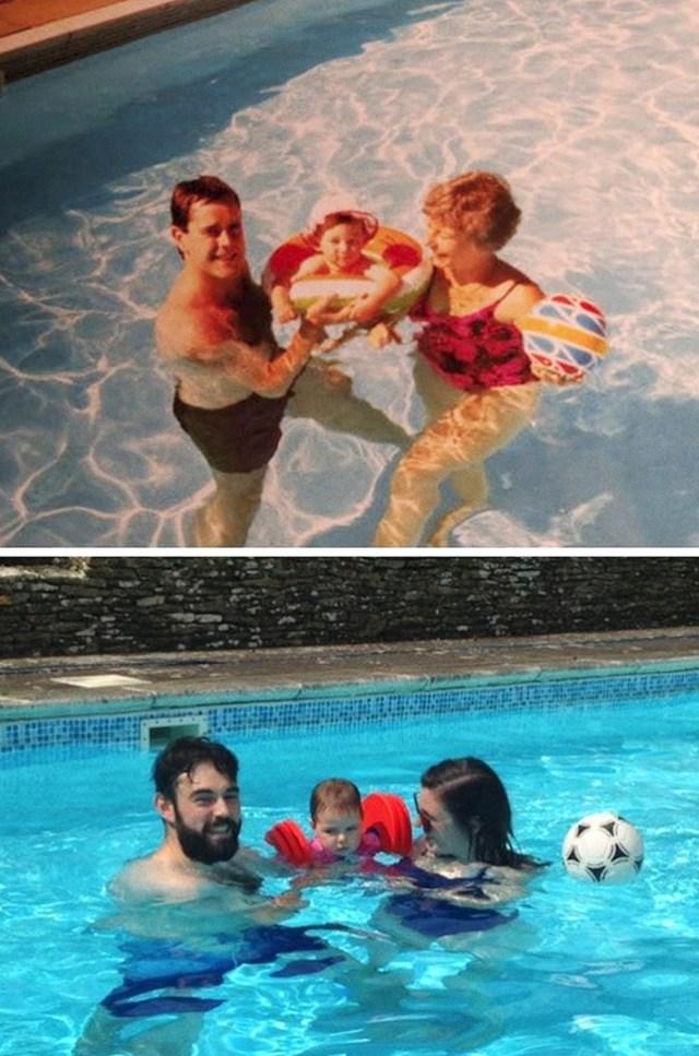 """""""U istom bazenu, 30 godina kasnije - na prvoj fotki sam ja beba, a na drugoj tata."""""""