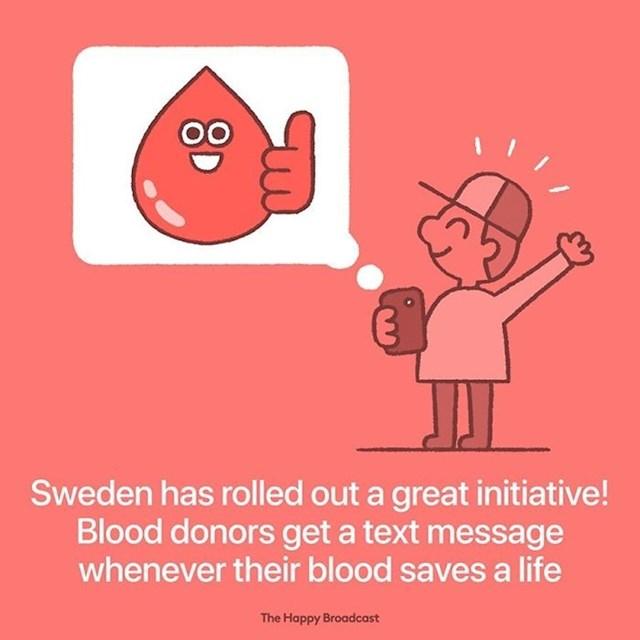 Darivatelji krvi su u Švedskoj počeli dobivati SMS poruke svaki put kad njihova krv spasi nečiji život.