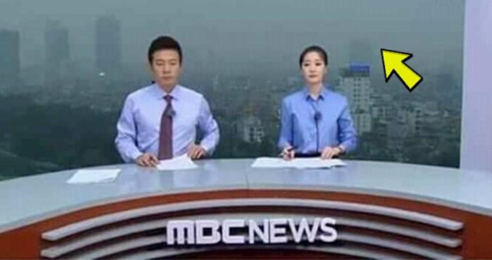 Začudit ćete se kad vidite kako ova korejska televizija snima vijesti, slika izdaleka otkriva čudan detalj