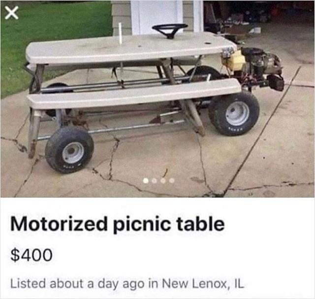 Motorizirani stol za piknik