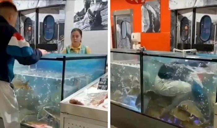 VIDEO Mladiću je prsten pao u akvarij pa je u supermarketu napravio čudnu scenu