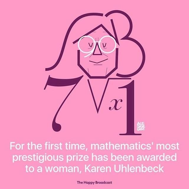 Po prvi put najprestižnija nagrada iz matematike dodijeljena je ženi, Karen Uhlenbeck.