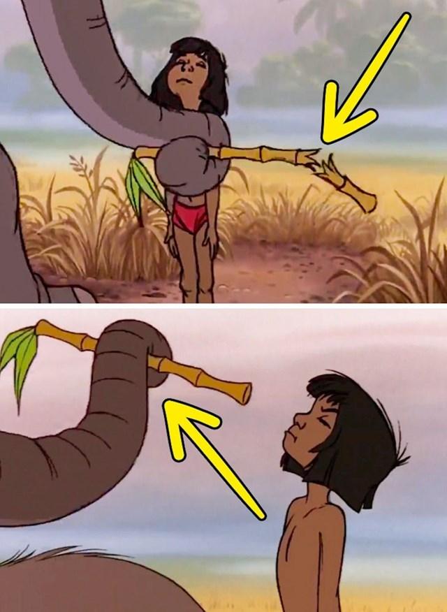 Knjiga o džungli: U prvoj sceni je slon slomio štapić od bambusa, a u sljedećoj sceni je opet čitav.