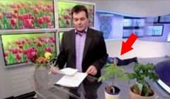 Radnik u TV studio pokušao je ne upasti u kadar, no kamera je snimila nešto urnebesno