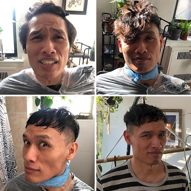 Prije dolaska koronavirusa odgađao je šišanje, sad ga je cura morala kod kuće ošišati. Nije bio zadovoljan.