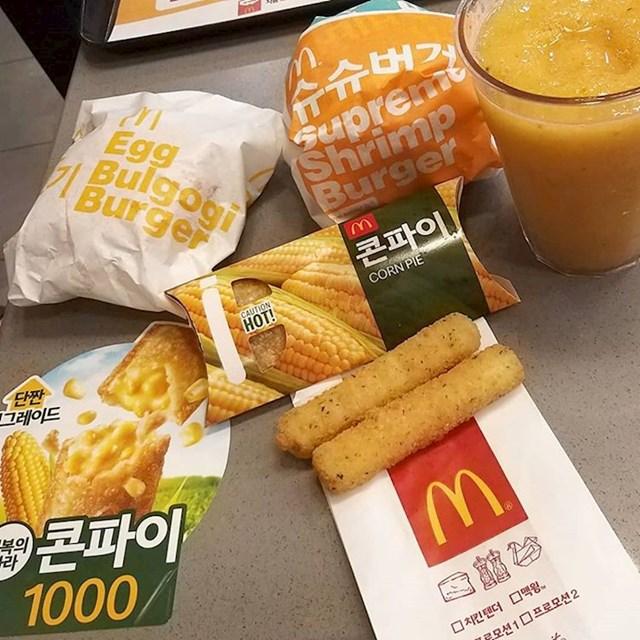 U korejskom McDonald'su možete naći burgere s račićima, jajima, bulgogijem... Imaju i pite s kukuruzom.