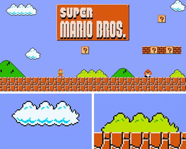 Oblaci i grmlje u igrici Super Mario Bros. zapravo izgledaju potpuno jednako, samo su različitih boja.