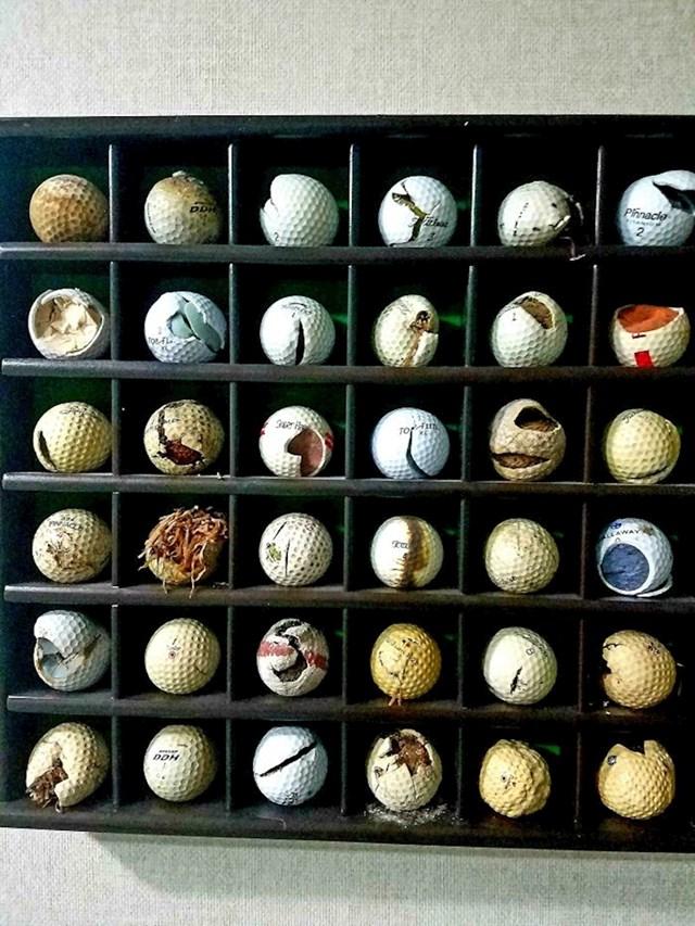 Tatina kolekcija oštećenih golf loptica
