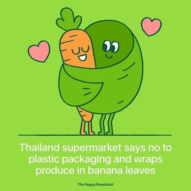 Dućani u Thailandu ukinuli su plastične vrećice i drugu plastičnu ambalažu, umjesto toga proizvode umataju u lišće banane.