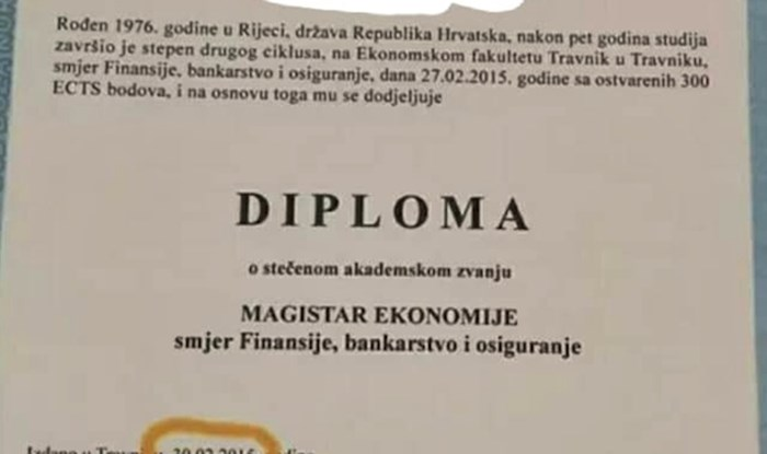 Student je primijetio urnebesan detalj na svojoj diplomi, pogledajte što je pisalo