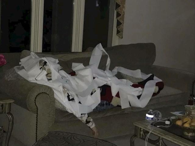 """""""Zaspao sam na kauču pa se moj tata odlučio malo našaliti. Pokrio me WC papirom i tako me slikao."""""""