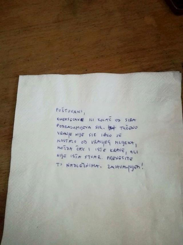 Evo što je napisala: