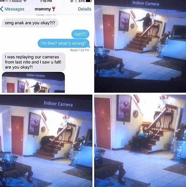U noćnim satima je silazila niz stepenice. Kamera je snimila što se dogodilo.