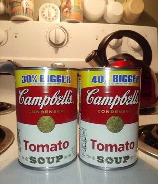 30% veća konzerva potpuno je ista kao ona koja je navodno 40% veća.