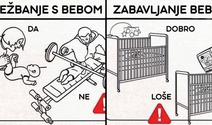 Bizarno smiješne ilustracije koje mladim roditeljima pokazuju što nikako ne smiju raditi s bebama