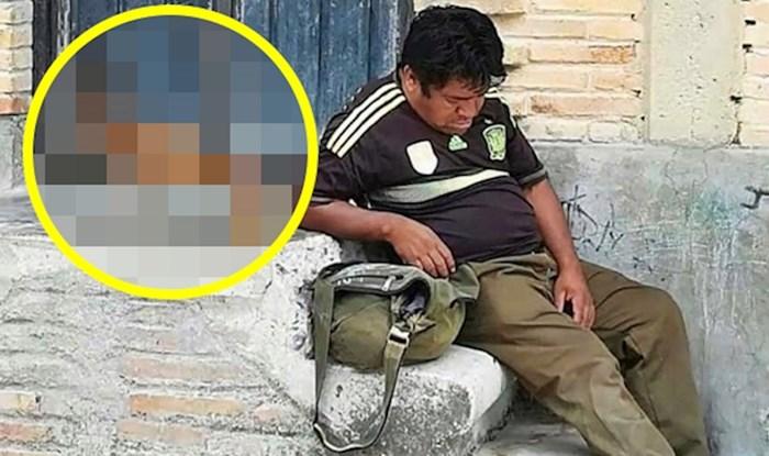 Lik je sjeo na stepenice kako bi malo odmorio, a onda je netko slikao najsmješniji trenutak