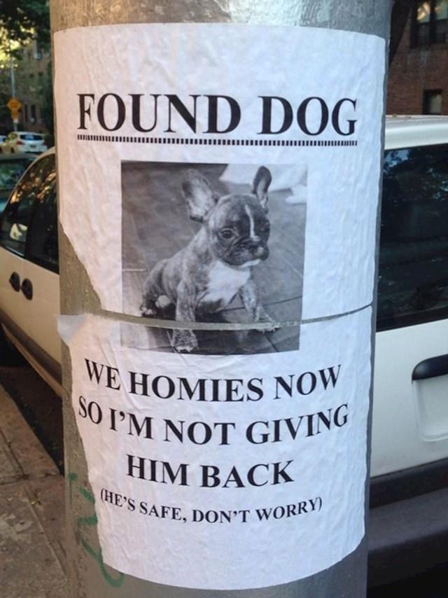 Našao je psa i ne želi ga vratiti vlasniku.