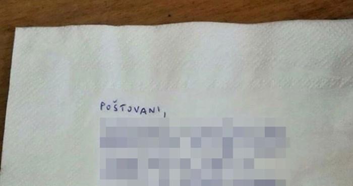 Nezadovoljna gošća ostavila je konobaru važnu poruku, evo što je napisala na salveti