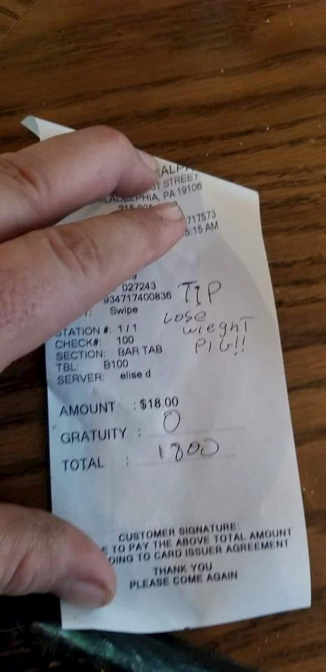 Netko je kasnije slikao račun:
