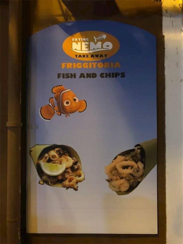 Talijanski restoran ima sliku koja uništava djetinjstvo. Počivaj u miru, Nemo.