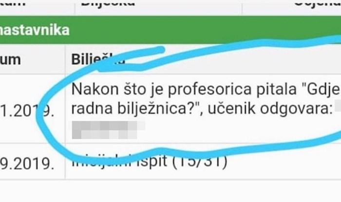 Profesorica je pitala učenika gdje mu je radna bilježnica, šokirao ju je njegov odgovor