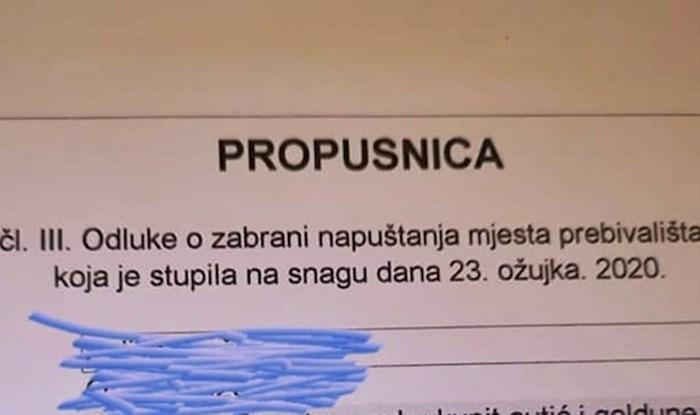 Na Facebooku se pojavila slika čudne propusnice, pogledajte što piše kraj razloga odobrenja