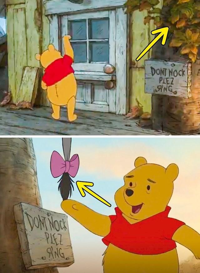 Winnie Pooh: Kad je Winnie htio pokucati na vrata primijetio je znak s natpisom. U prvoj sceni se nije vidio nikakav rep, u sljedećoj se odjednom pojavio.