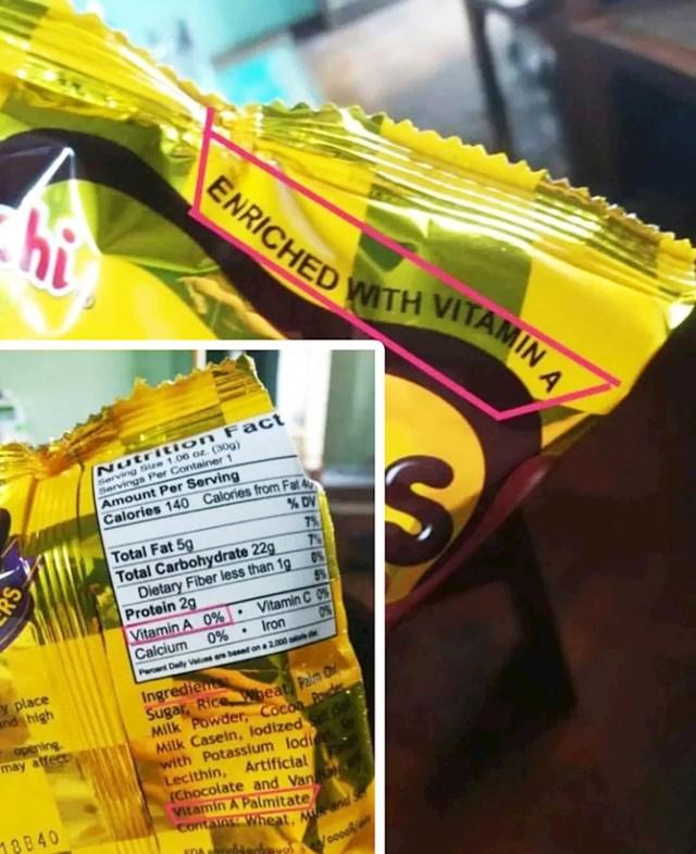 Ovaj proizvod s vitaminom A zapravo ima 0% vitamina A.