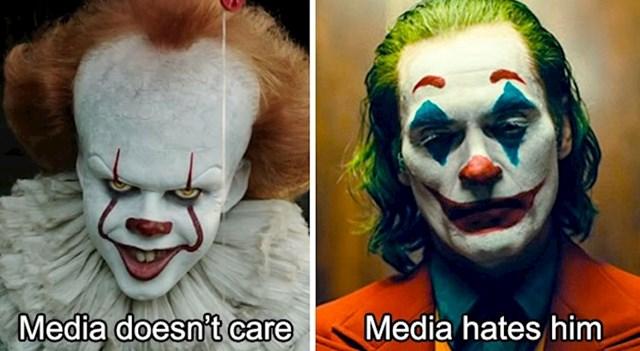 Pennywise: Krade djecu i drži ih kao taoce, mediji ga ignoriraju / Joker: Pokušava živjeti, mediji ga mrze