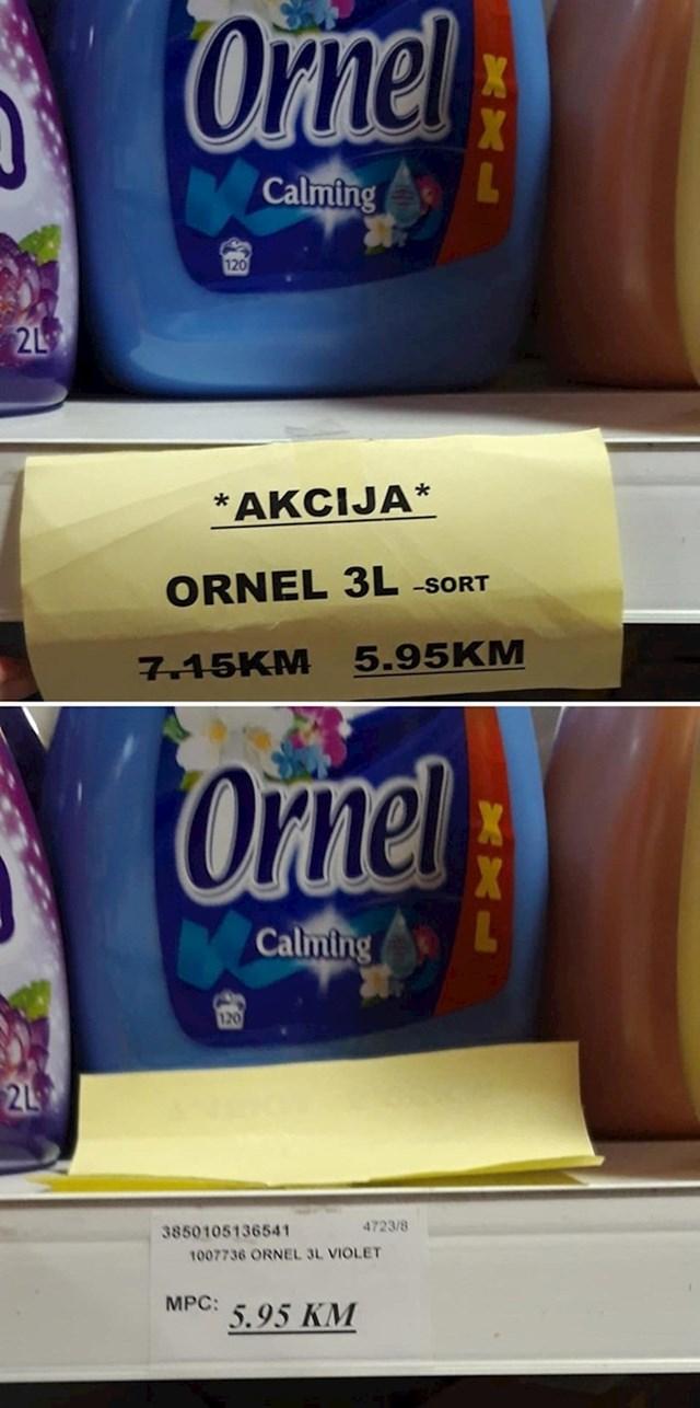 Ispod papirića se krila redovna cijena...