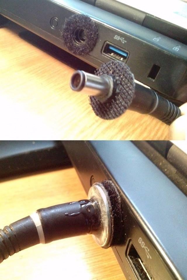 Ovako kabel sigurno neće ispadati iz laptopa.