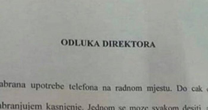 ŠEF IZGUBIO STRPLJENJE Nije više htio trpjeti nered pa je svojim radnicima napisao ozbiljnu obavijest