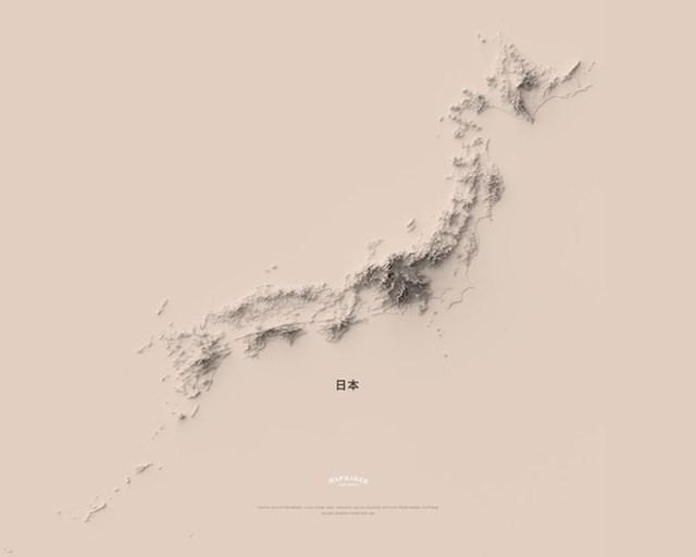 Minimalistička topografska karta Japana