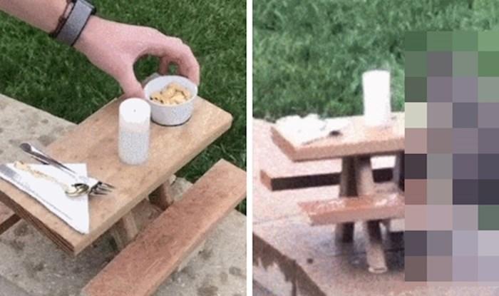 Netko je u dvorištu postavio minijaturni stol pa kasnije snimio urnebesnu scenu
